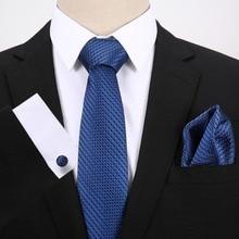 Blue Dot Jacquard Woven For Formal Wedding Business Party Tie + Hanky + Cufflinks Sets Men`s Tie 100% Silk Free Postage fashion men s square dot pattern tie deep blue