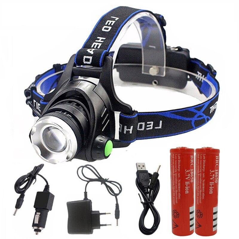 Z30 faro T6 L2 faro led linterna zoom ajustable de la lámpara de la cabeza 5000lm XM-L 18650 de batería luz delantera recarga zoomable
