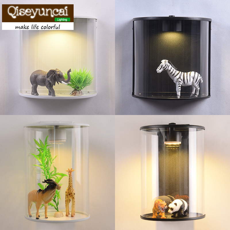 Qiseyuncai Nordic creative personality plant animal led wall lamp living room aisle simple modern bedroom lighting free shipping qiseyuncai american children s room england soldier legion wall lamp boy girl bedroom lighting free shipping