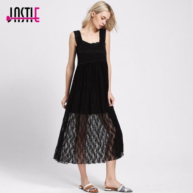 e2a1a62da31 Jastie Sexy été Style Boho intimement transparent Floral dentelle Maxi robe  longue femmes robes romantique superposition