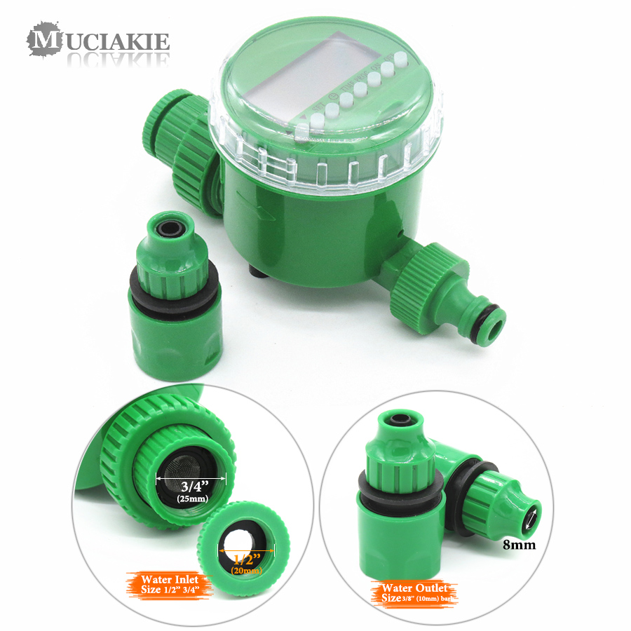 MUCIAKIE Garden Water Timer with 1/2/4-Way Hose Splitter Automatic Watering Irrigation Controller Adapter 4/7 8/11 16mm Hose 3