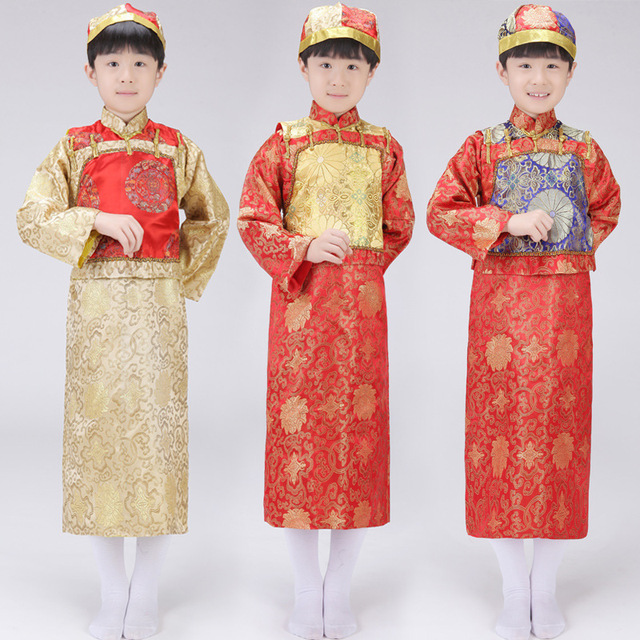 Retail Chinese Ancient Qing Dynasty Cosplay Costume  Boy Emperor Clothes Robe +Vest +Hat Kids Chinese Movie Clothes Child Robe16