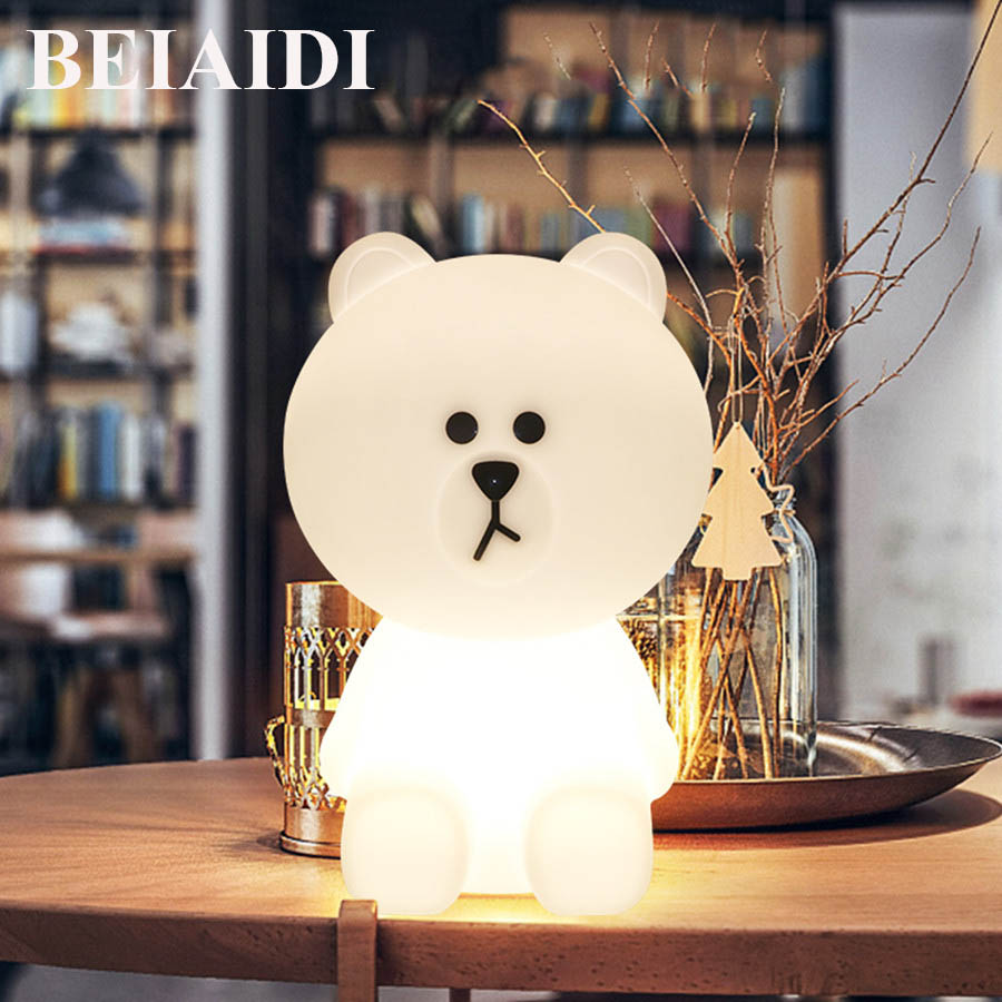 BEIAIDI Dimmable LED Night light Rabbit Bear Cartoon Decorative Bedside Bedroom Night Light Baby Birthday Christmas Gift Lamp ice hockey creative christmas birthday dream master cartoon children boy gift led wall lamp 3d stick bedroom night light party