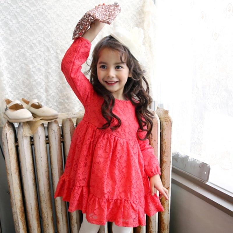 Rode lange jurk kant