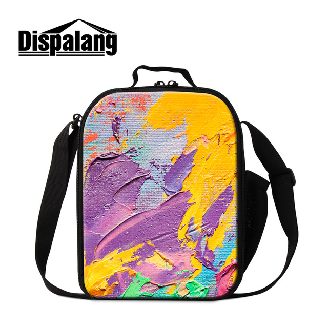 Dispalang new fashion portable insulated lunch cooler bags colorful paint thick thermal lunch bag for women kids picnic lunchbox