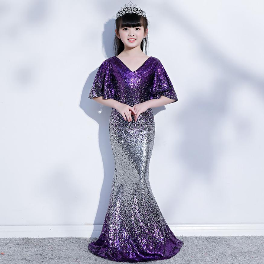 High-end Princess Mermaid Dress Gradient Sequined Kids Pageant Party Gown Deep V-neck Girl Dress Modis Clothes Vestidos Y1511High-end Princess Mermaid Dress Gradient Sequined Kids Pageant Party Gown Deep V-neck Girl Dress Modis Clothes Vestidos Y1511