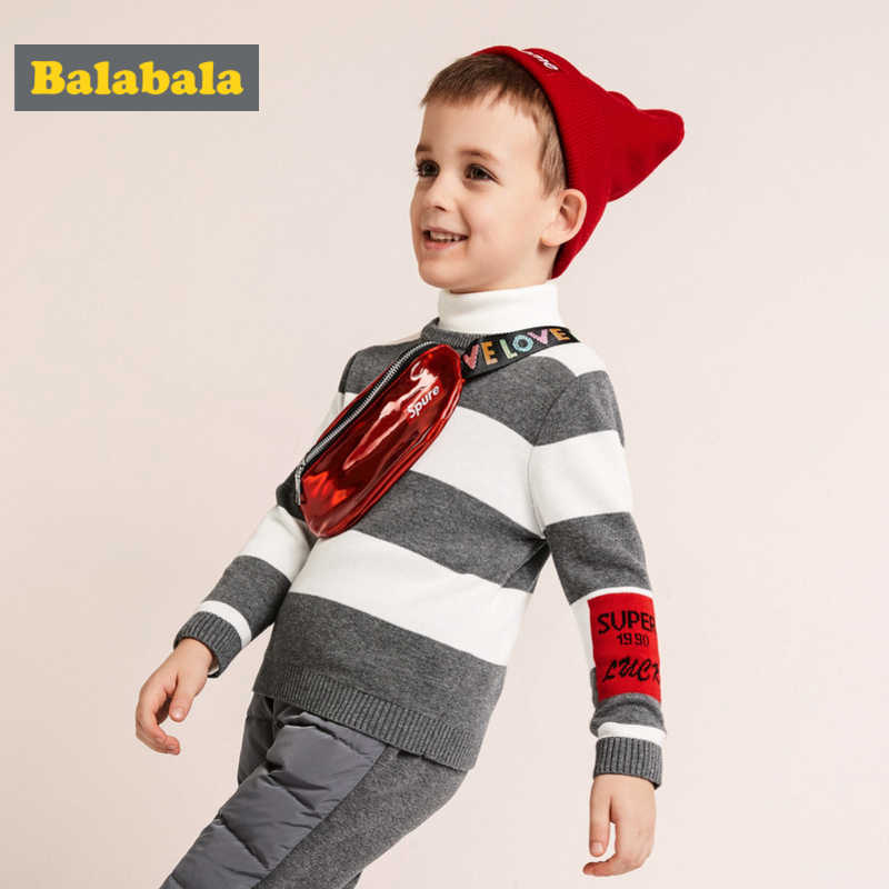Balabala Toddler Boy 100% Cotton Stripe Waffled Sweater Kids Pullover Sweater Ribbed Crewneck Cuffs and Hem Embroidery at Sleeve