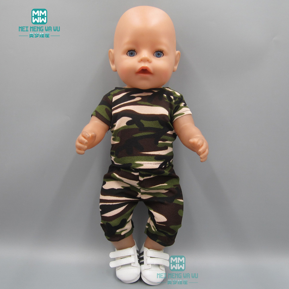clothes for dolls fits 43 cm Baby Born zapf doll Camouflage sportswear suit for Children's
