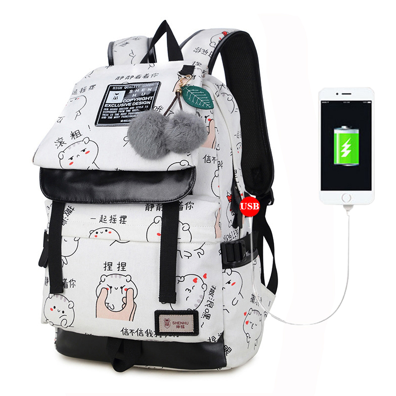 Fengdong Teenager Canvas Usb Charging Women Travel School Bag Fashion Printing Laptop Backpack For Adolescent Girs Cute Printing
