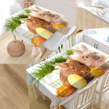 New Arrival Custom rabbit Table Cloth Waterproof Oxford Fabric Rectangular Tablecloth Home Party Tablecloth