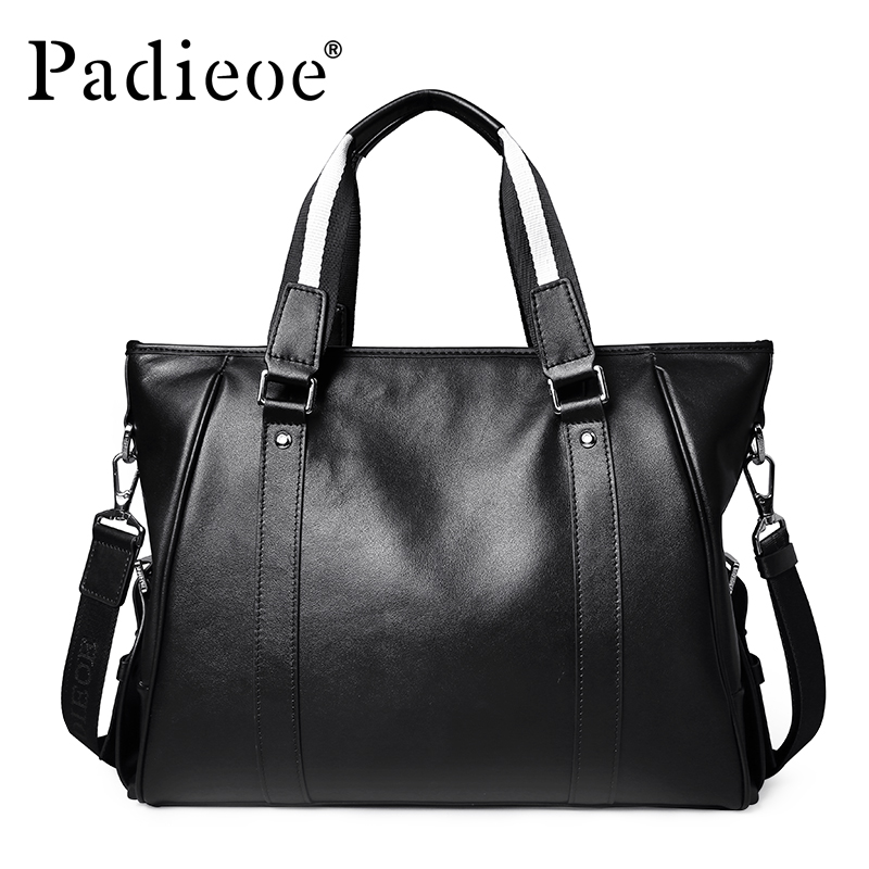 Padieoe Famous Brand Men's Briefcase Men Messenger Bags Genuine Cow Leather Tote Bag For Male Business Men Laptop Bag Male Bags padieoe 2017 fashion genuine leather laptop bag high quality business men briefcase famous brand luxury documents bag for male