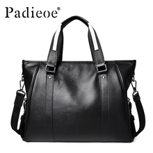 Padieoe Famous Brand Men's Briefcase Men Messenger Bags Genuine Cow Leather Tote Bag For Male Business Men Laptop Bag Male Bags