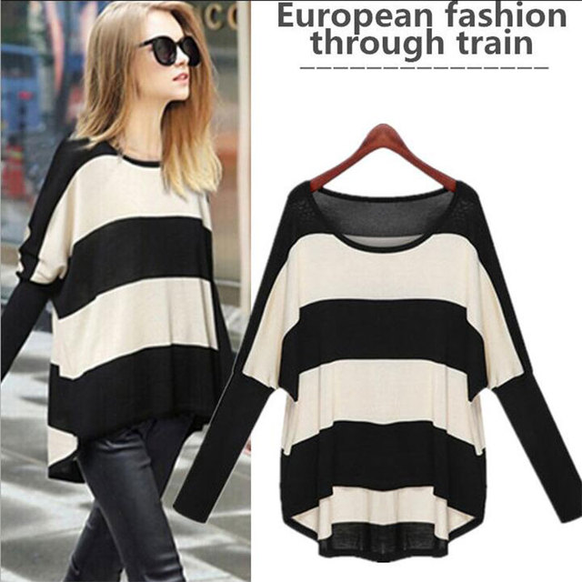 Black and White Striped Women Sweater Batwing Sleeve Long Sleeve Pullovers Fall Slim 2016 Spring Autumn O-Neck Women Sweater