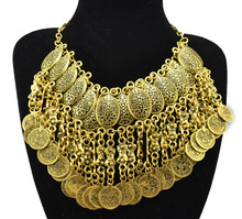 Bohemian Jewelry Choker Collar Necklace Carved Flower Coin Tassels Statement Necklaces Turkish Gypsy Ethnic Tribal Belly