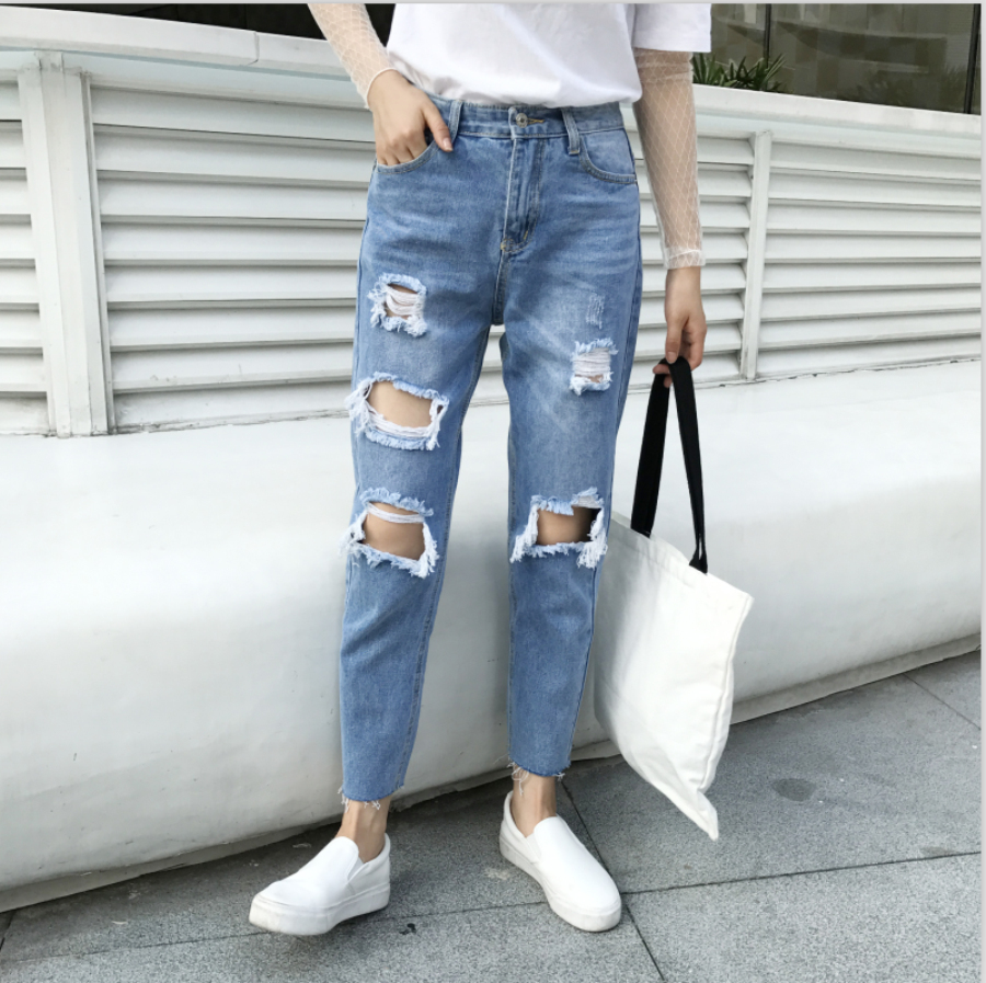 New Arrivals Womens Street Fashion Hole Loose Harem Jeans Ripped Casual Boyfriend Vintage Denims Jeans Pants Trousers H336 street style hole jeans womens slim denim pants fashion 2017 loose harem pants new spring summer wild jeans pantalones vaqueros