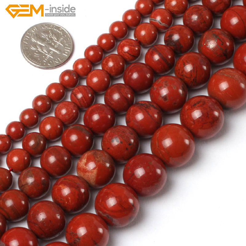 """Gem-inside 2-14mm Natural Stone Beads Round Red Jaspers Beads For Jewelry Making Beads 15"""" DIY Beads Trinket Gift"""