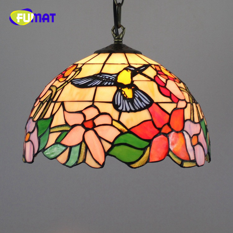 FUMAT American Rural Creative Tiffany Stained Glass Retro Sun flower and Rose restaurant Chandelier Red Rose 12 inch FUMAT American Rural Creative Tiffany Stained Glass Retro Sun flower and Rose restaurant Chandelier Red Rose 12 inch