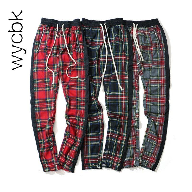 wycbk Side Stripe Patchwork Elastic Waist Plaid Pants Men 2018 High Street Leg Opening Zipper Mens Pants Full Length 4Colors