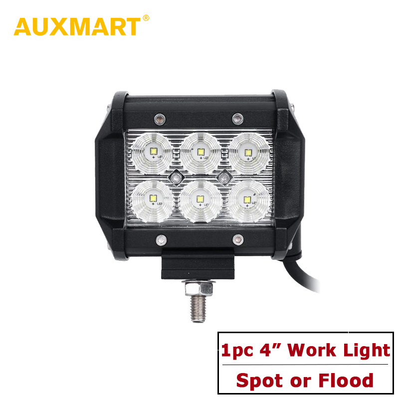 "Auxmart 4\"" 18W Spot/Flood Reflective Cup LED Work <font><b>Light</b></font> Offroad Tractor Truck 4x4 SUV ATV Motorcycle Headlight <font><b>Fog</b></font> Lamps 12V 24V"