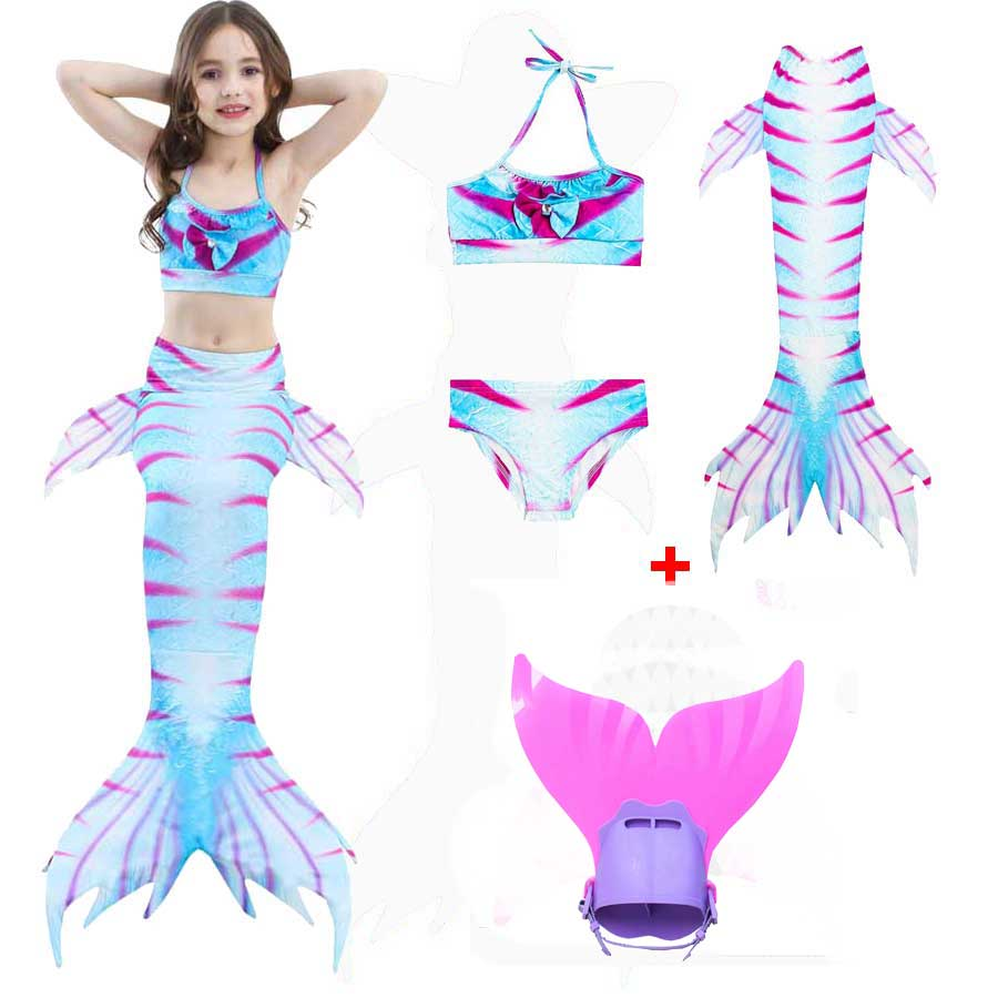 Girls Mermaid Tail Suit For Swimming Kids Bikini And Swim Tail Dress Monofin Children The Little Princess Mermaid Tail Costume