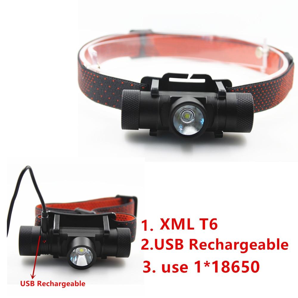 NEW XML T6 USB перезаряжаемые фары фары фары 18650 Фара для кэмпінгу прывяло ліхтарык