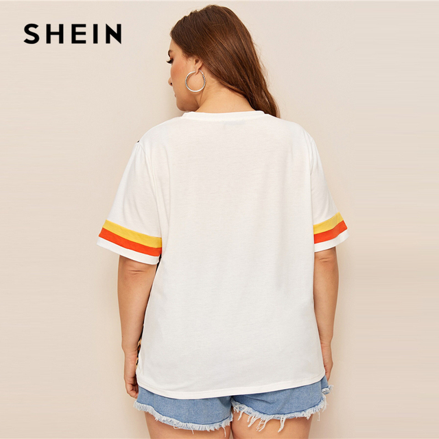 SHEIN Plus Size Cut And Sew Striped Leopard Top Women 2019 Summer Colorblock Casual Round Neck Tee Highstreet Weekend T-shirt 5