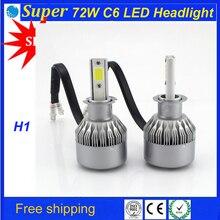 72 W фары для C6 h1 автомобиля светодиодный фар 8000lm автомобиля светодиодный головной лампы высокой мощности 72 Вт Светодиодный фар H1 комплекты светодиодов фар