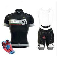 2017 Ale Ciclismo Jersey conjunto de Manga Curta Homem Respirável ropa ciclismo almofada de gel de Mountain Bike camisas bicicleta jardineira shorts 9D