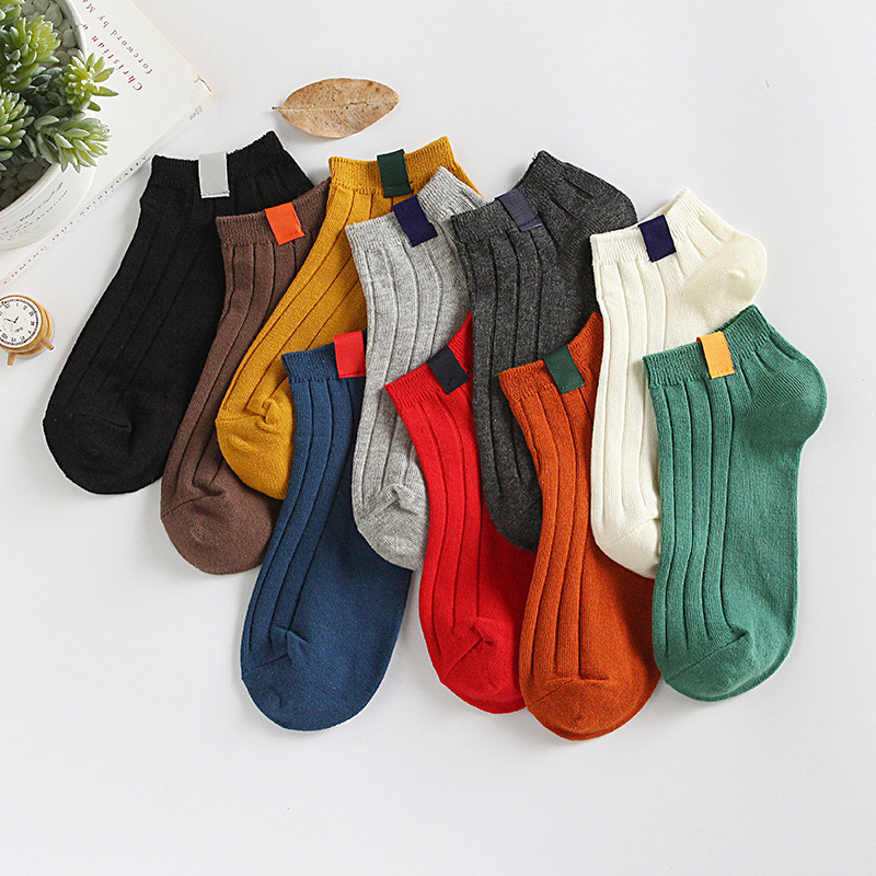 2018 women's socks 5 pair socks short invisible cotton solid color women fashion Retro cute ankle socks for women high quality