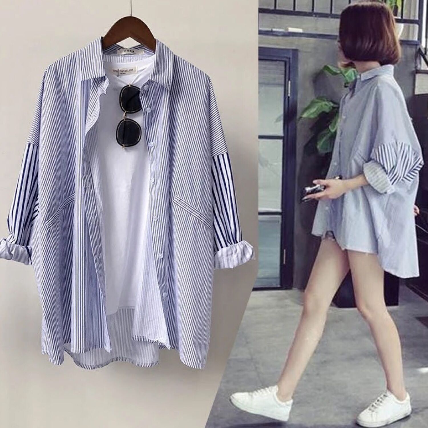 M 2019 spring striped long section sleeve large size student wild loose blouse