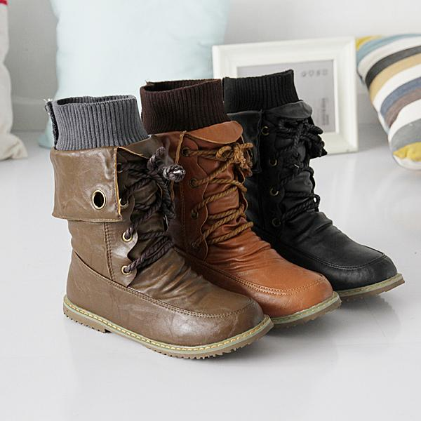 b25fa2776d8 US $34.3 |2014 winter casual ankle boots motorcycle boots high warm cotton  padded women shoes fashion PU leather boots Martin shoes a381-in Mid-Calf  ...