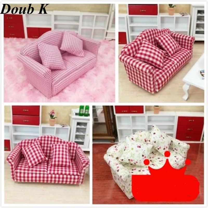 Doub K 1:12 Doll House Shtëpi DOLLHOUSE Mini lodra për mobilje Lodra aksesorë modeli mobilje për dhomën e ndenjes simulim lodër jastëkësh dyshe