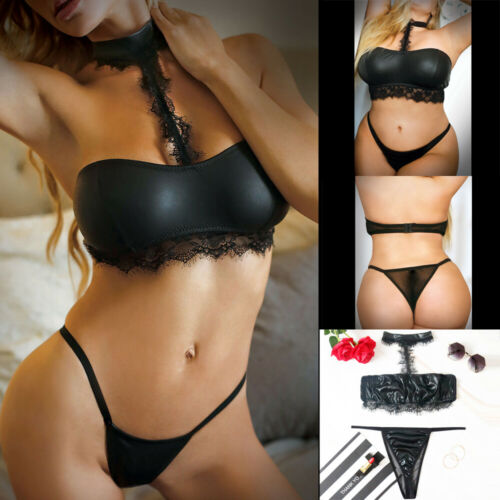 2PCS Womens Sexy Lingerie Leather Lace Babydoll G-String Underwear Halter Bra + Panties Exotic Sets Plus Size S-3XL