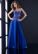 Sexy See Through Royal Blue Appliques Long Corset Evening Dresses Floor Length Prom Gown