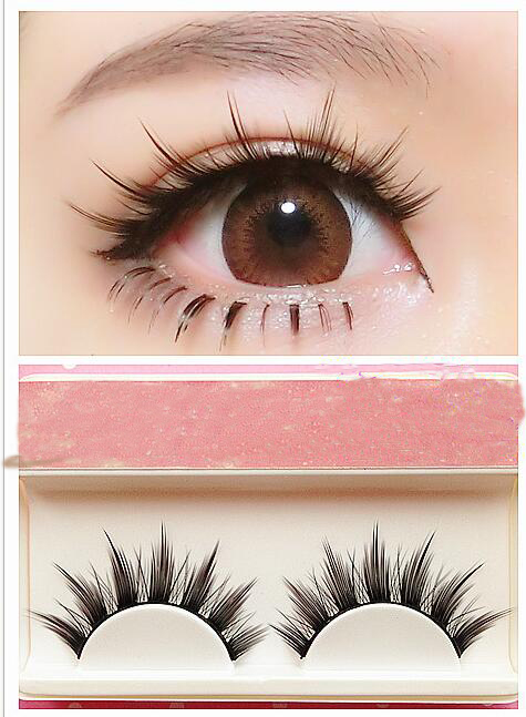 Natural Long Cosplay Makeup Cross Strip False Eyelashes Black Eye Lashes