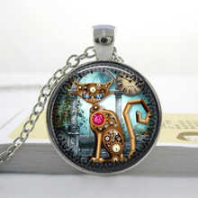 2017 New Collares Collier Maxi Necklace Steampunk Cat Necklace Vintage Photo Pendant Glass Photo Cabochon Necklaces Gifts HZ1