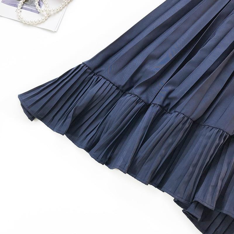 French Retro Irregular Fishtail Skirt Large Swing Pleated Trumpet Midi Skirt High Waist Slimming Ruffles Mermaid Skirt Faldas