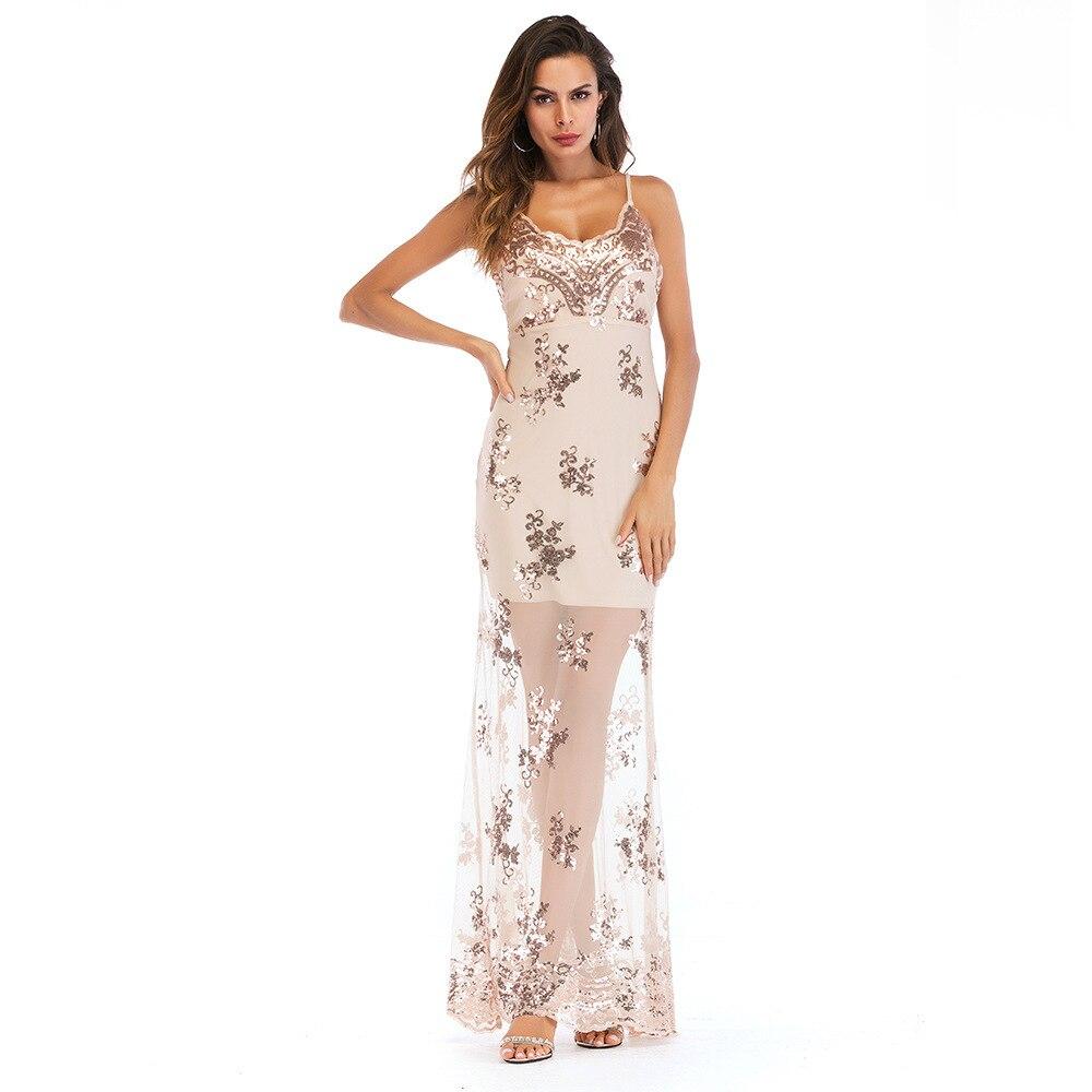 Broderie robe d'été femmes Sexy col en V paillettes maille longue robe élégante femme transparent Maxi robes de soirée robes Vestidos