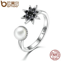 BAMOER 925 Sterling Silver Star In Dark Finger Ring Black CZ Freshwater Pearl Rings For Women