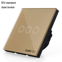 Funry ST1 3 Gang EU Standard Remote Control Wall Switch Light Touch Luxury Glass Panel 170