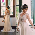 Vintage Lace Short Sleeve Beach Wedding Dress 2017 Sexy Illustion Appliques V Neck Backless Chiffon Boho Vestido De Noiva