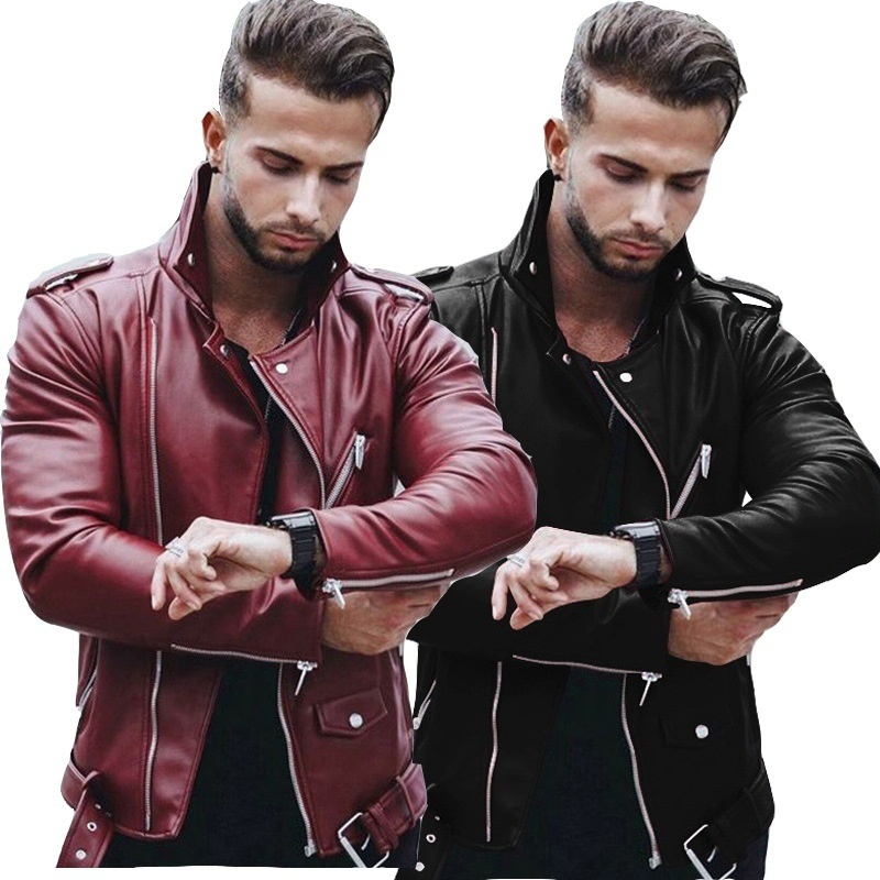 US $34.98 |Plus Size Leather Jackets Mens Autumn Winter Fashion Fit Stand Collar Jacket Winter Zipper Patchwork Faux Leathers Coat F350|Anime Costumes| |  - AliExpress