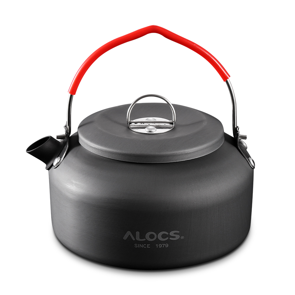 ALOCS Outdoor Kettle Camping Picnic Water Teapot Coffee Pot 1.4L Aluminum Pot Camping Table Water Kettles