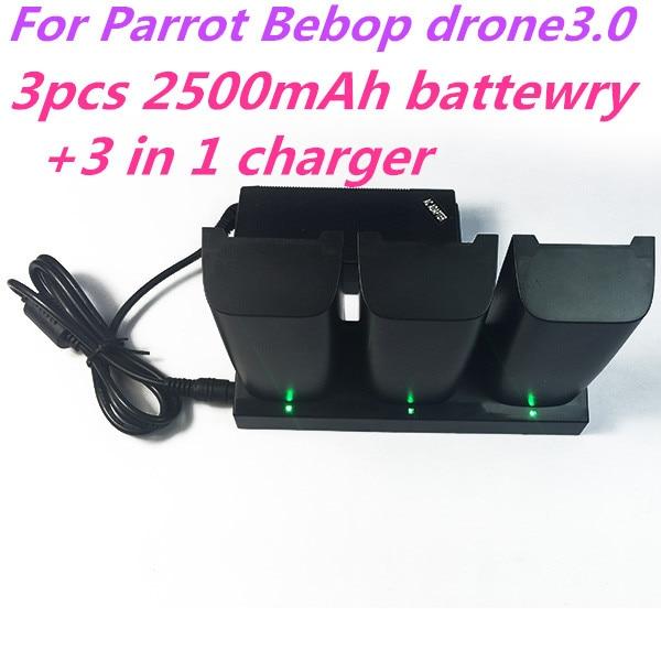 3 шт. Parrot Bebop Drone 3.0 Quadcopter Вертолет 2500 мАч drone3.0 Li-Po батарея и 1 шт. 3 в 1 зарядное устройство бесплатная доставка