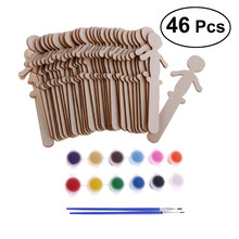 32Pcs People Shaped Craft Sticks DIY Wooden Cake Toppers For Wedding Birthday Party Decorating(China)