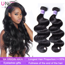 Unice Hair Kysiss hair 8A Body Wave Brazilian Hair Weave Bundles 100% Human Hair 1/3 /4 Piece 8-30inch Virgin Hair(China)