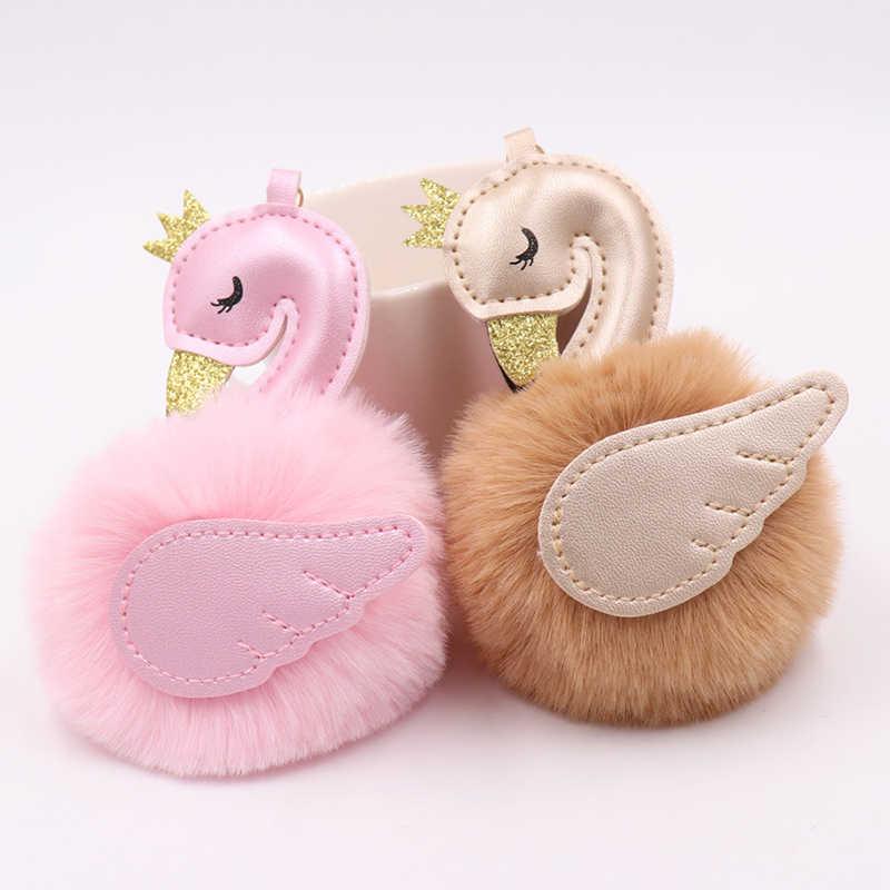 Pompons bonito Cisne Chaveiros Para A Mulher Saco Carro Chaveiro Bola de Pêlo de Coelho Fofo Flamingo Chaveiro Bugigangas Presente Da Jóia Pendant