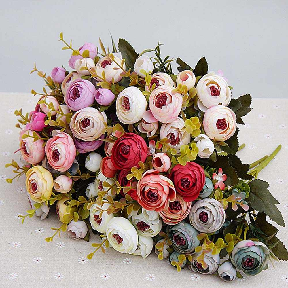 10heads/1 bundle Silk tea roses Bride bouquet for Christmas home wedding new Year decoration fake plants artificial flowers