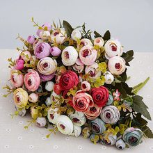 10heads/1 bundle Silk tea roses Bride bouquet for Christmas home wedding new Year decoration fake plants artificial flowers(China)