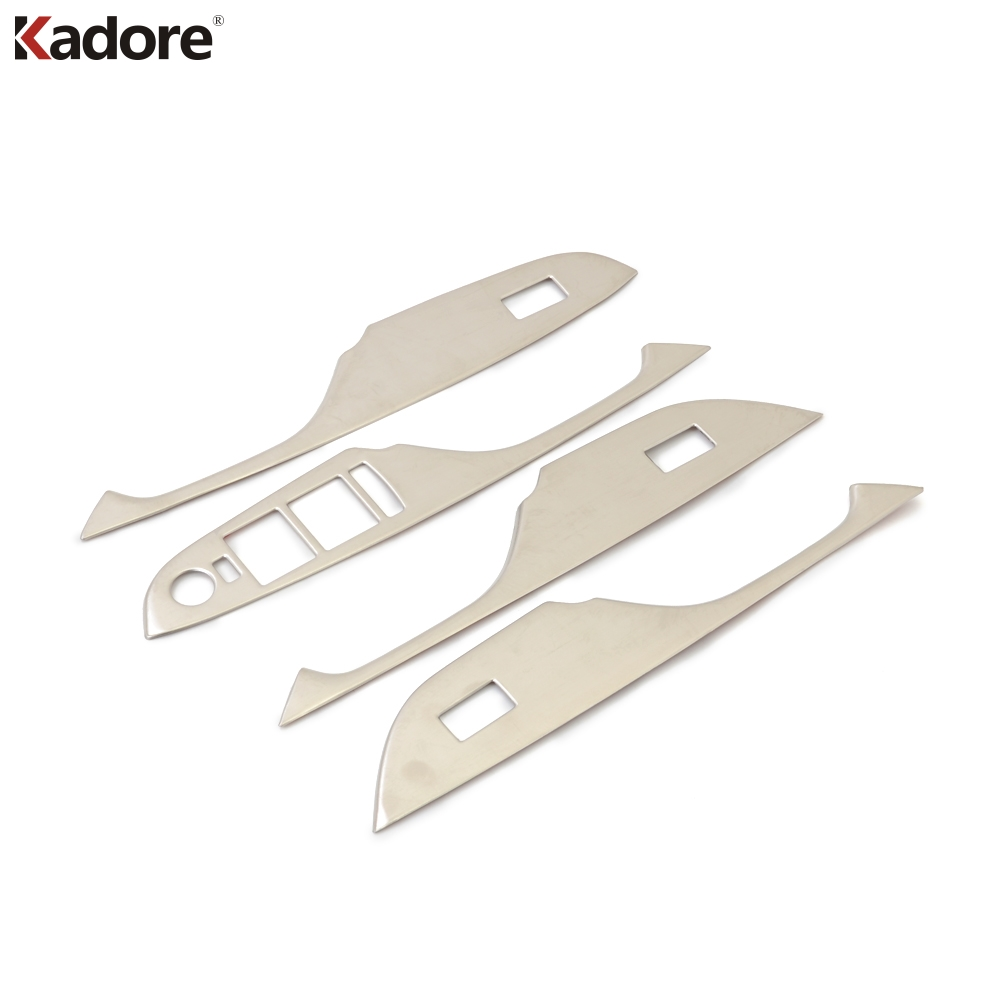 For Cadillac SRX 2010 2011 2012 2013 Stainless Steel Internal Door Armrest Cover Window Lifter Button